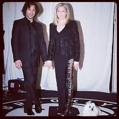 Jason Gould & Barbra Streisand and dog Sammi Brooklyn, NY Oct 2012 - dressed by Donna Karan