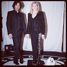 Jason Gould & Barbra Streisand and dog Sammi Brooklyn, NY Oct 2012 - dressed by Donna Karan