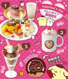 Cute Pom Pom Purin meal for Valentine's Day (=´∀`)人(´∀`=) Cute Food, Good Food, Osaka Food, Cute Things From Japan, Japanese Food, Japanese Things, Kawaii Cooking, Cute Cafe, Hello Kitty Birthday