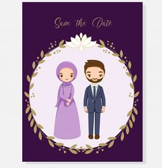 Muslim couple for wedding invitations card Premium Vector couple cartoon Muslim Wedding Cards, Muslim Wedding Invitations, Wedding Invitation Cards, Bride And Groom Cartoon, Wedding Couple Cartoon, Couple Musulman, Muslimah Wedding, Cute Muslim Couples, Anime Muslim
