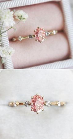 Petite Engagement Ring, Colored Engagement Rings, Vintage Style Engagement Rings, Gemstone Engagement Rings, Minimalistic Engagement Ring, Cute Promise Rings, Peach Sapphire Rings, Ring Verlobung, Jewelries