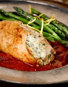 You can't beat these pesto parmesan cream cheese-stuffed chicken breast filets. Simply serve over hearty marinara and enjoy.