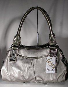 New Kathy Van Zeeland Handbag Spotlight Iii Swagger Satchel Pewter Silver