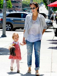 Jessica Alba and nearly 2-year-old daughter Honor make it a mother-daughter date Thursday at Urth Caffe in Beverly Hills.