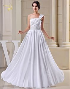 New Arrival Design Fashion Vintage Wedding Dresses 2017 Beading One Shoulder Bride Gown White Ivory Vestidos De Noiva NR33094