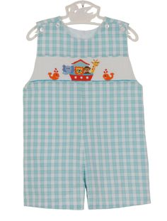 NEW Anavini Aqua Checked Smocked Shortfall with Noah's Ark Embroidery $65.00 #SmockedNoahsArkShortall