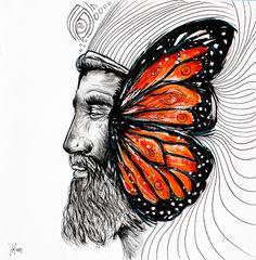 El Monarca [by Sofia Castellanos ©] on Behance Technique: Acrilyc & pencil by Sofia Castellanos © #art #painting #king #finearts #illustration #magic #butterfly #orange #magic #mystery