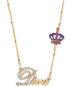 Betsey Johnson Necklace, Antique Gold-Tone Crystal Diva Pendant Necklace - Betsey Johnson - Jewelry & Watches - Macy's
