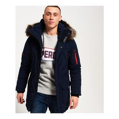 Superdry Premium Down Trans-Alps Parka Jacket (£225) ❤ liked on Polyvore featuring men's fashion, men's clothing, men's outerwear, men's jackets, navy, mens navy jacket, mens insulated jackets, mens short sleeve jacket, mens zipper jacket and mens hooded jackets