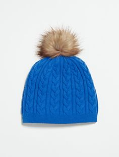 Talbots - Cable Hat | Hats | Hat with fur pompom