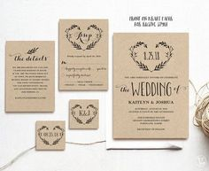 Rustic Wedding Invitation Template Printable by VineWedding