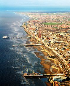 Aerial view of Blackpool, Lancashire, North West, England. Places To Travel, Places To See, Places Around The World, Around The Worlds, Blackpool England, Kingdom Of Great Britain, England And Scotland, England Uk, Beautiful Places