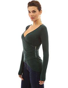 PattyBoutik Women's V Neck High Low Hem Zip Wrap Blouse (Dark Green M) - http://best-women-shop.xyz/2016/06/22/pattyboutik-womens-v-neck-high-low-hem-zip-wrap-blouse-dark-green-m/