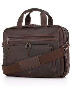 Image 1 of Kenneth Cole Reaction Columbian Leather Expandable Double Gusset Laptop Briefcase