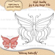 INSTANT DOWNLOAD Ribbony Butterfly Digital Stamp for Paper Crafting- DS9022-RB. $3.00, via Etsy at: http://www.etsy.com/listing/109873744/instant-download-ribbony-butterfly-for