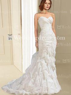 Chiffon Strapless Mermaid Wedding Gown with Ruffles BC685