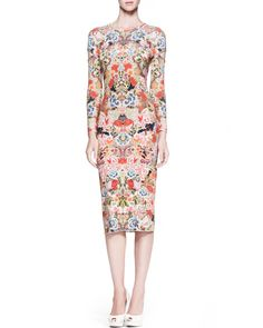 Alexander McQueen - Floral-Print Jersey Sheath Dress, Pink/Multi