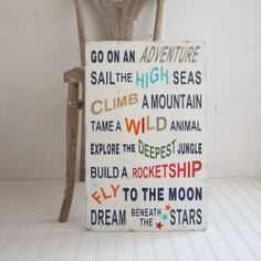 Family Rules Style Boys Girls Adventure Wood Sign. Playroom. Multi-color. Sail, Climb, Fly, Dream Beneath the Stars. $