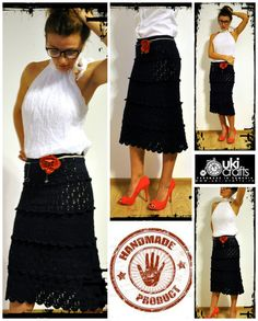 Made to Measure Clothes – Crochet Cocktail Midi Skirt – a unique product by uki-boots on DaWanda Crochet Skirts, Midi Skirt, High Waisted Skirt, Cocktails, Clothes For Women, Boots, Unique, Crafts, Etsy