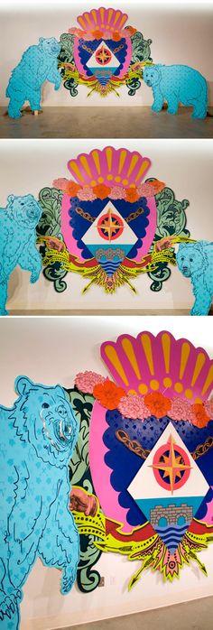 chinn wang - screenprint on wood {installation} - balance/color/line/