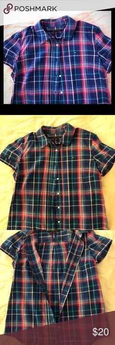 Tommy Hilfiger Check Shirt Cute TOMMY short-sleeve shirt in blue/pink. Great for layering! Like-new condition. The sweater in the first and last pics is also available in my closet so be sure to check it out 😊😊 Tops Button Down Shirts