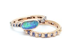 Boulder Opal Rapunzel Ring with blue sapphires, 18R - Polly Wales-