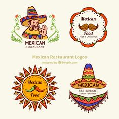Discover thousands of copyright-free vectors. Graphic resources for personal and commercial use. Thousands of new files uploaded daily. Mexico Food, Mexico Art, Mexican Party, Mexican Style, Logo Psd, Restaurant Logo Design, Food Truck Design, Easy Party Food, Food Icons
