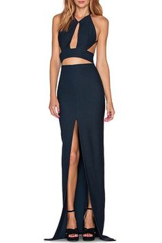 Alluring V-Neck Sleeveless High Slit Solid Color Cut Out Women's Dress