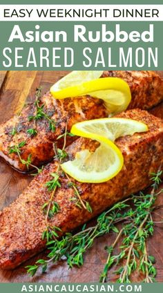 Seared to perfection, this Asian Rubbed Salmon is fatty and full of flavor from the Chinese Five Spice rub! It's melt-in-your-mouth delicious! This super healthy yet easy dinner recipe is perfect for busy weeknight, family dinner, outdoor grilling, and impressive enough for date night and so much more. You won't believe how incredibly flavorful this salmon is! Healthy Asian Recipes, Chinese Recipes, Vegetarian Recipes, Easy Dinner Recipes, Breakfast Recipes, Asian Seasoning, Healthy Chinese, Lemon Salmon, Outdoor Grilling