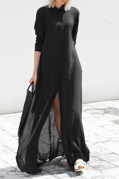 Black Chiffon Flat Collar Long Sleeves Maxi Dress