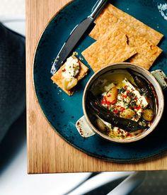 Barrel-aged feta tou fournou with chilli, roast garlic and oregano recipe   Gourmet Traveller recipe :: Gourmet Traveller