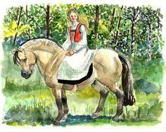 Norwegian Girl on Fjord Horse