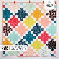 Bright, cheery Trellis.quilt by @aneelahoey for her #vignettefabric range - free project download on our website.