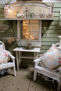 Shabby chic porch decor,