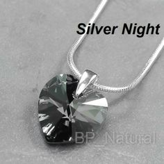 """Genuine Crystals from Swarovski® Heart Crystal Silver Snake Chain Necklace 18""""-$4.92"""