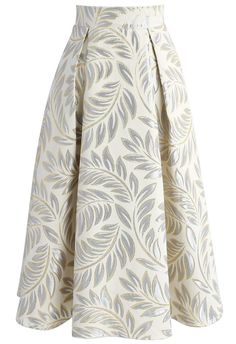 Golden Olive Jacquard Midi Skirt