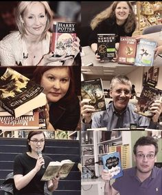 Famous authors holding their books (J.K. Rowling, Suzanne Collins, Cassandra Clare, Rick Riordan, Veronica Roth, John Green)