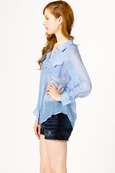 Sheer blouse - Light blue
