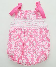 Vive La Fête Pink Damask Smocked Ribbon Bubble Romper - Infant | zulily