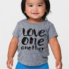 LOVE ONE ANOTHER PRE-ORDER! {Please allow up to 3-4wks to receive your package as this is a pre-order}  Everyone's differences make them beautiful and unique - we hope this tee can help our children embrace each other's differences and teach them to LOVE ONE ANOTHER!  American Apparel Athlet...