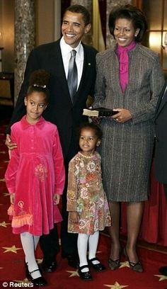 Mr.  Mrs. Obama with children Sasha  Milea
