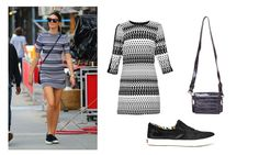 Street style con vestido de estampado geométrico @veromodafashion, zapatillas slip-on de @dieselfootwear y bolso bandolera @mtngmustang.