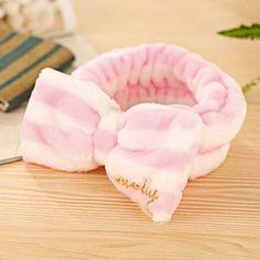Beauty Essentials | Cute Headband Face Makeup Hairband Bow Colorful Stripe Velvet Towel Turban Novelty Gadget $2.46