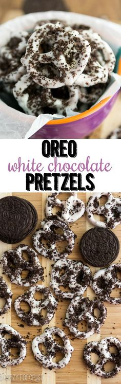 Oreo White Chocolate Pretzels - an easy foolproof treat using chocolate dipped pretzels and Oreo cookies! Great for snacking or homemade gifts! I think that this is a snack Yummy Snacks, Yummy Treats, Delicious Desserts, Sweet Treats, Yummy Food, Candy Recipes, Snack Recipes, Dessert Recipes, Oreo Cookie Recipes