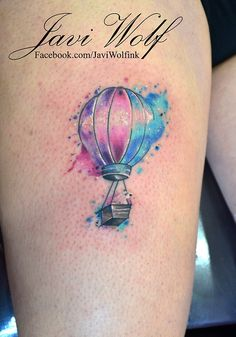 Watercolor Hot Air Balloon and curious bear.  Tattooed by @Javi Wolf - simply beautiful