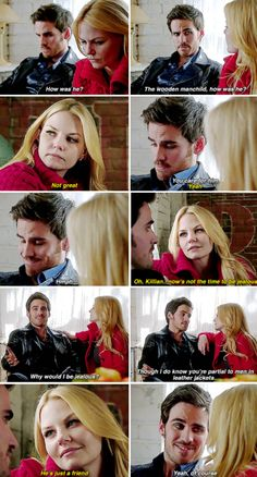 "Killian and Emma - 4 * 16 ""Best laid plans"" Captain Swan / I loved this part.... And how Killian refers to August as a ""manchild""... XD"