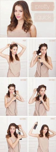 Steps for waves in under 10 minutes: Divide your hair into 4 sections. I like to take the hair that falls in front of the shoulders + the hair that falls behind the shoulders and then split them in 2 to get my 4 sections. Clip the front sections up. Curl section one (see above). Start with the middle and inch your way down to the ends. I like using a 1″ barrel for this but you can also use 1 1/4″ if you have that. Curl section two. Make by marcia