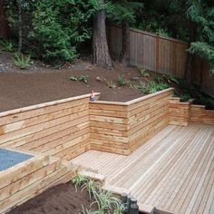 Timber retaining wall Outdoor spaces Pinterest