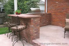 Dark Wood Counter Tops Stacked Stone by Outdoor Kitchens & Living of ...