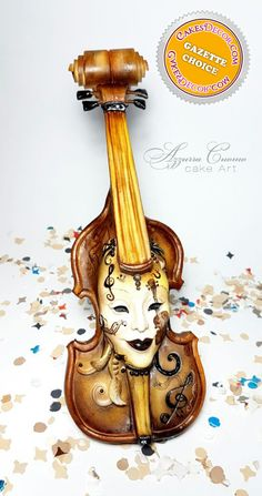 Carnival Cakers Collaboration: the violin mask❤ - Cake by Azzurra Cuomo Cake Art Unique Cakes, Creative Cakes, Beautiful Cakes, Amazing Cakes, Cupcake Cookies, Cupcakes, Cake Decorating Magazine, Masquerade Cakes, Carnival Cakes